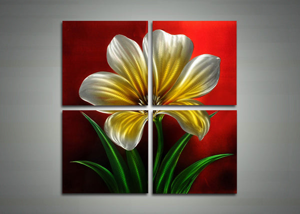 Four Panel Flower Metal Wall Art - 32x32in