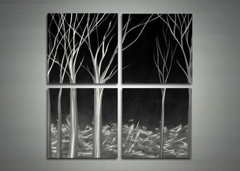 Abstract 4-Panel Tree Metal Wall Art - 32x32in