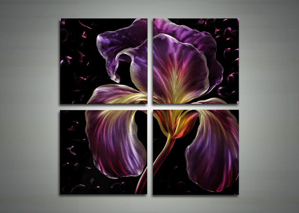 Purple Floral Metal Art Painting - 32x32in
