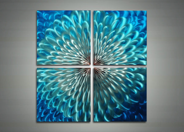 Blue Metal Art - Abstract Wall Art Painting - 32x32in