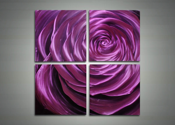 Purple Flower Metal Art Painting - 32x32in