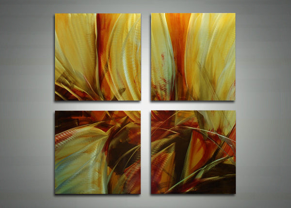 Yellow Flower Metal Art Painting - 32x32in