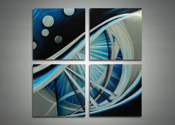 Visions of Blue - Abstract Metal Wall Art - 32x32in