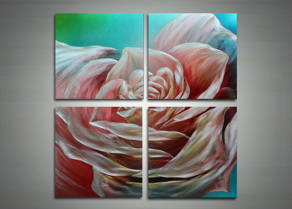 Pink Flower Painting - Four Panels - 32x32in