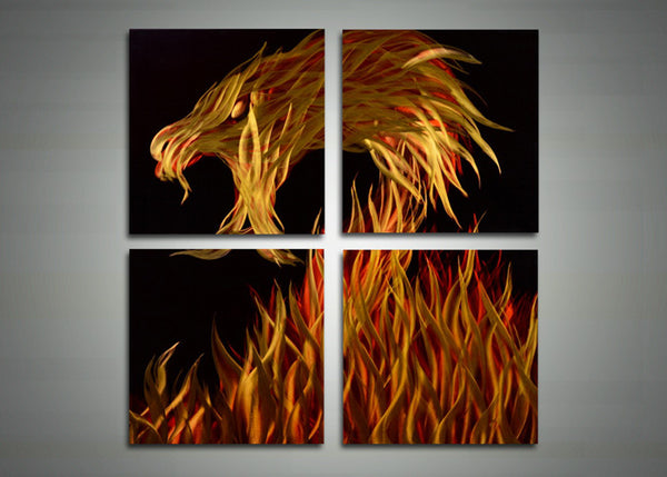 Dragon Metal Wall Art Painting - 32x32in