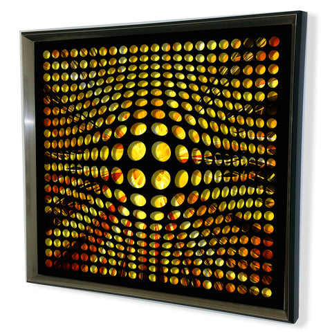 Modern Black Tinted Mirror - Acrylic Vortex Mirror - Yellow shade 32x32""