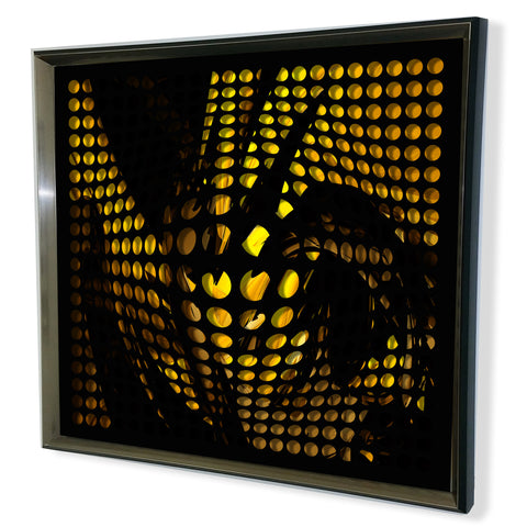 Modern Black Tinted Mirror - Acrylic Vortex Mirror - Black and Yellow 32x32""