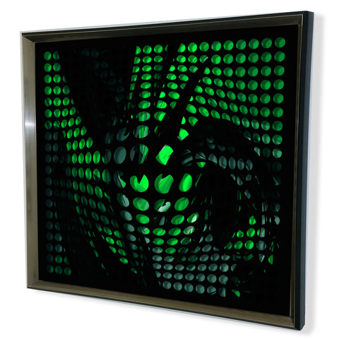 Modern Black Tinted Mirror - Acrylic Vortex Mirror - Green shade 32x32""