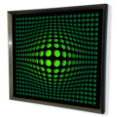 Modern Black Tinted Mirror - Acrylic Vortex Mirror - Green 32x32""