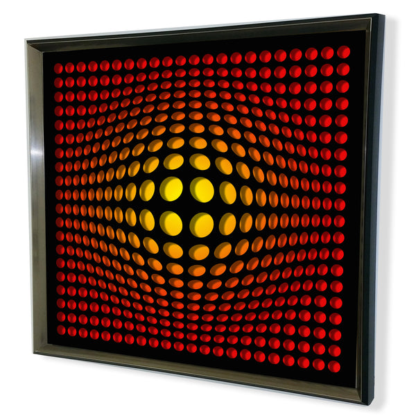Modern Black Tinted Mirror - Acrylic Vortex Mirror - Yellow 32x32""