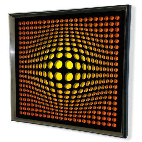 Modern Acrylic Mirror - Framed Vortex Art - Red and Black Shade 32x32""