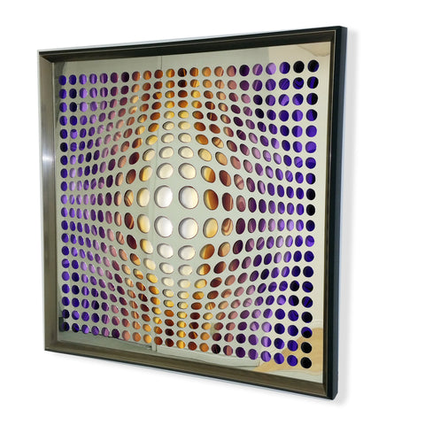Contemporary Mirror - Framed 3D Acrylic Mirror -Fire & Ice 32x32""