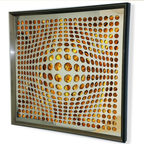Contemporary Mirror - Framed 3D Acrylic Mirror -Fire Color  32x32""