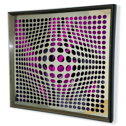 Modern Acrylic Mirror - Framed Vortex Art - Yellow and Black 32x32""
