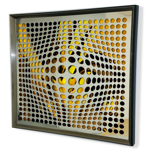 Modern Acrylic Mirror - Framed Vortex Art - Green and Black 32x32""