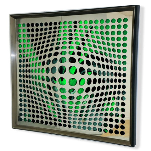 Modern Acrylic Mirror - Framed Vortex Art - Cyan and Black 32x32""