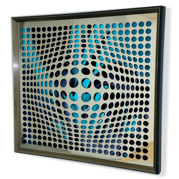 Modern Acrylic Mirror - Framed Vortex Art - Green 32x32""