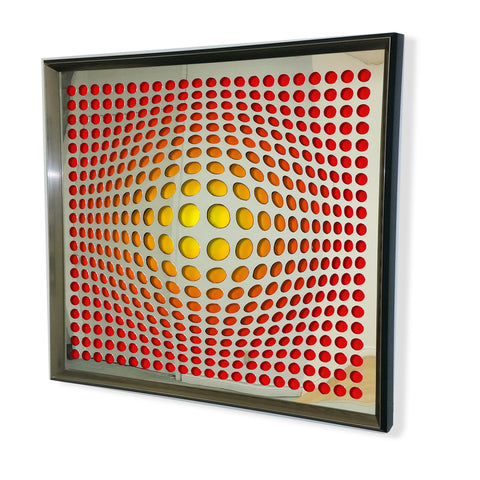 Modern Acrylic Mirror - Framed Vortex Art - Red and Black 32x32""