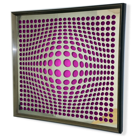 Modern Acrylic Mirror - Framed Vortex Art - Purple and Orange 32x32""