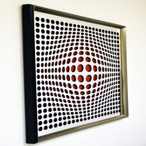 Modern Acrylic Mirror - Framed Vortex Art - Double Vortex 32x32""
