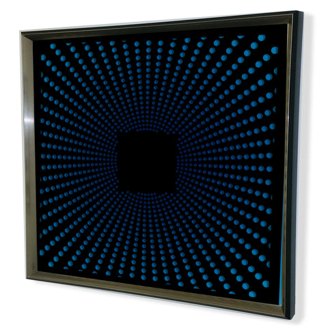 Modern Black Tinted Mirror -Sunburst- Framed 3D Acrylic Mirror Art -Red 32x32""