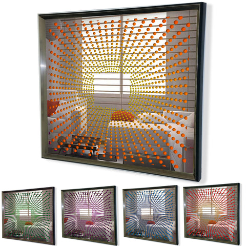 Modern Mirror -Sunburst- Framed 3D Acrylic Mirror Art -Orange 32x32""