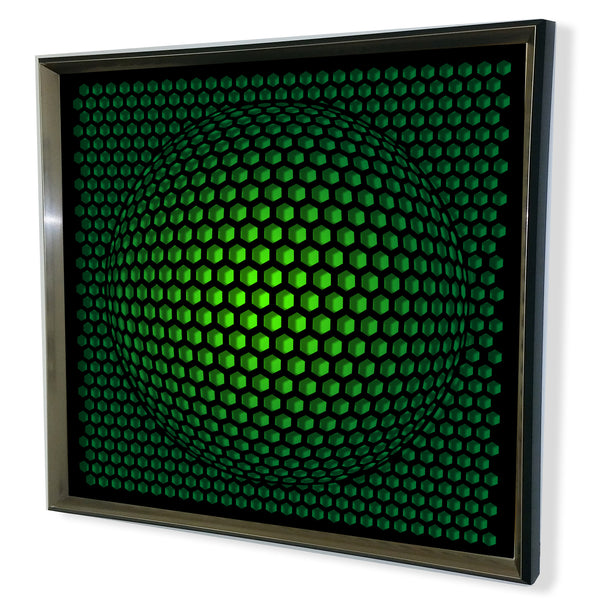 Modern Sphere 3D Mirror - Black Tinted Mirror - Green 32x32""