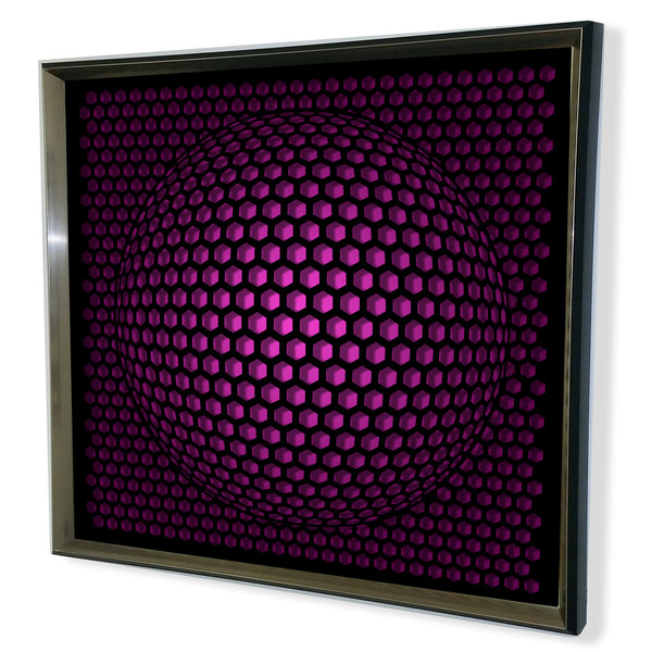 Modern Sphere 3D Mirror - Black Tinted Mirror - Purple 32x32""