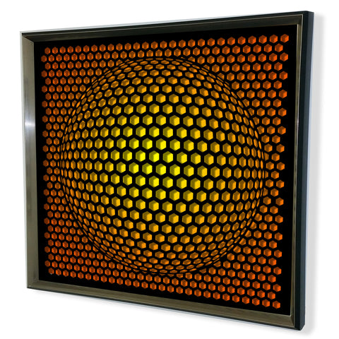 Modern Sphere 3D Mirror - Black Tinted Mirror - Yellow 32x32""