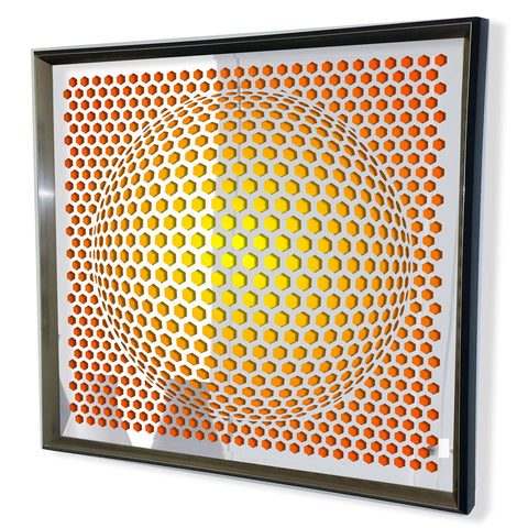 Modern Sphere 3D Mirror - Black Tinted Mirror - Yellow Stipe 32x32""