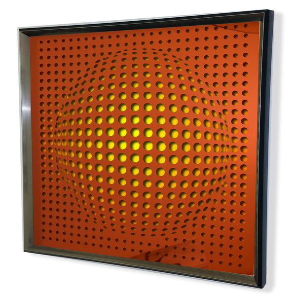 Modern Sphere 3D Mirror - Red Tinted Mirror - Yellow 32x32""