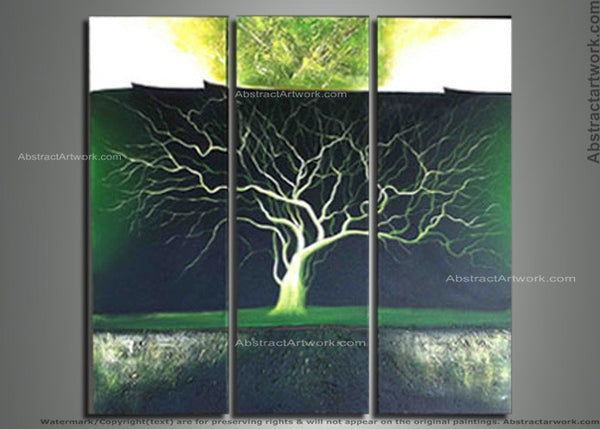 Green Tree Abstract Art Painting 107 - 36x36in