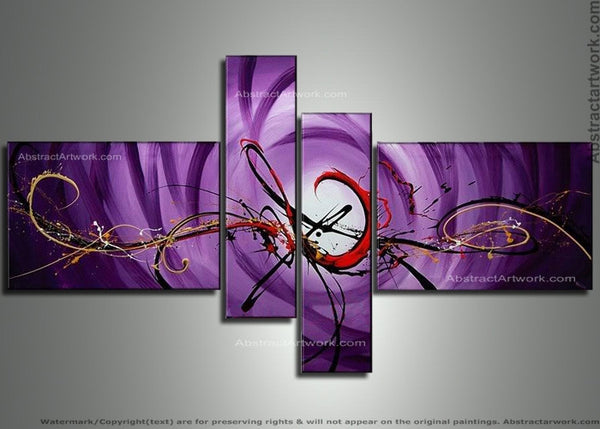 Purple Abstract Wall Art 110 - 63x37in