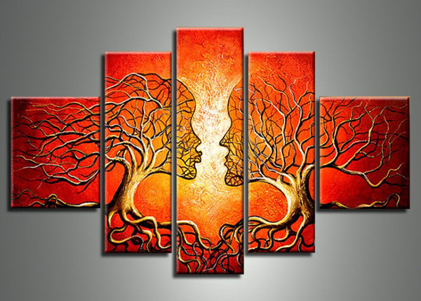 Red Human Tree Art Painting 113 - 60x36in