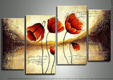 Red and Orange Flowers Painting - 48x30 - 4 Piece