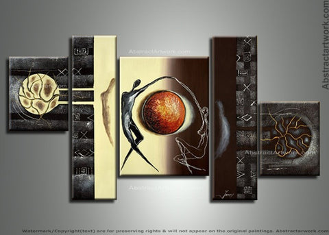 Multi Panels Modern Cavas Painting 121 - 68x32in
