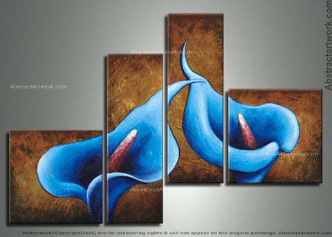 4 Panels Blue Floral Painting 24 - 48x34in