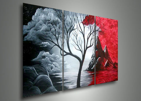 Abstract Tree Art Painting 3 Panels 127 - 60x24in