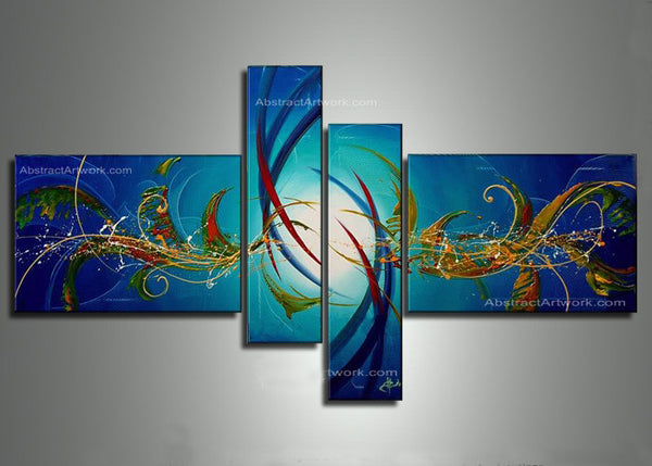 Modern Blue Abstract Oil Painting 137 - 48x30in