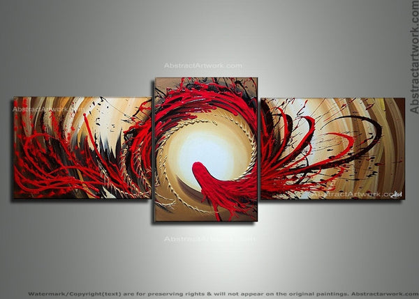 Modern Red Abstract Painting 146 - 66x24in