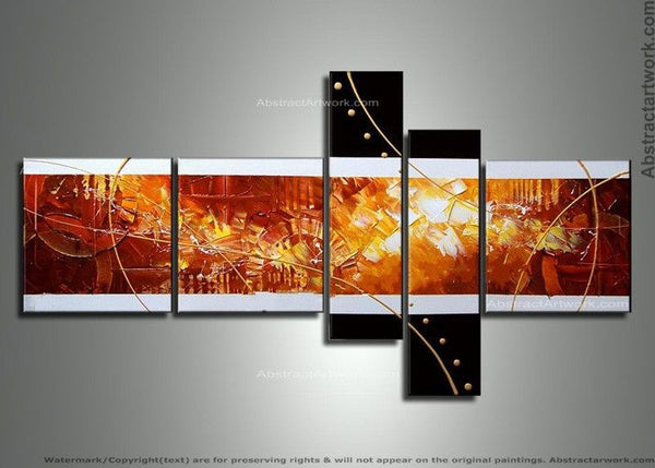 5 Panels Textured Abstract Painting 150 - 64x34in