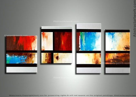 Abstract 4-Panel Canvas Oil Painting 154 - 52x24in