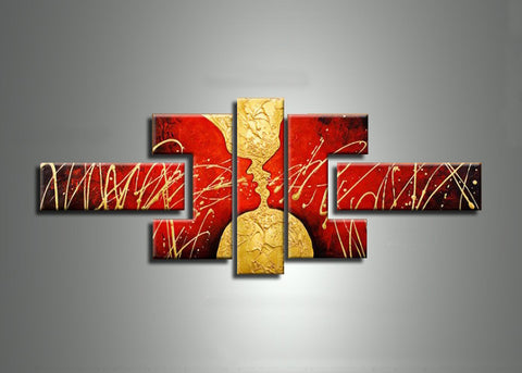 Red Abstract Canvas Painting 172 - 52x30in
