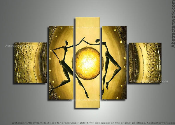 Textured Yellow Abstract Art 173 - 60x32in