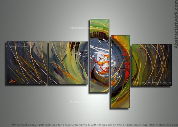 Modern Abstract Art Painting Green 176 - 64x34in