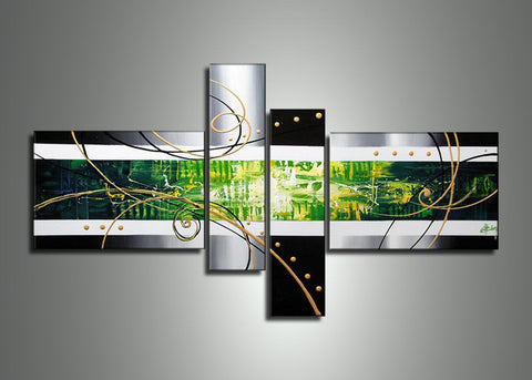 abstract green wall art 192 64x34in