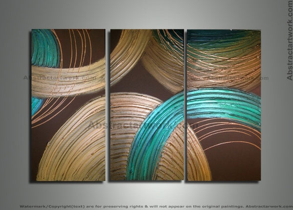 Textured Circles Artwork - 3 Panels 210 - 36x28in