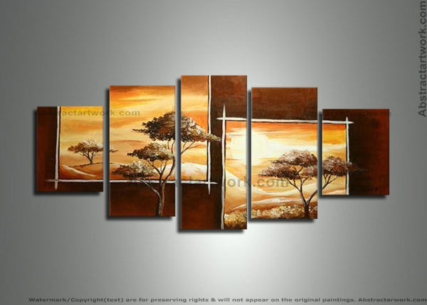 Brown Tree Asian Painting 222 - 60x28in