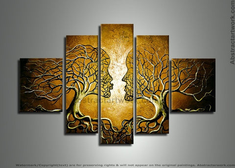 Yellow Human Tree Painting 225 - 60x32in