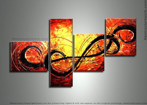 4 Panels Yellow Red Oil Painting 229 - 54x30in